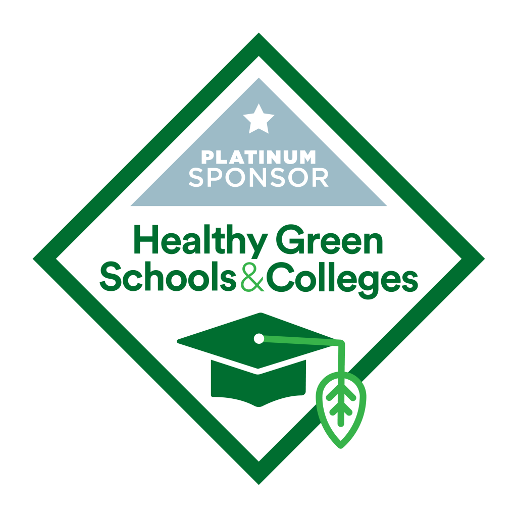 Diamond sponsor seal. Text: Platinum sponsor.Healthy Green Schools & Colleges. Illustration of a graduation cap with a leaf tassle.